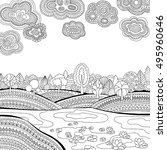 printable coloring page for... | Shutterstock .eps vector #495960646