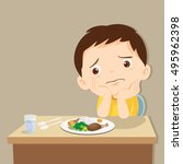 child eating boring food. cute...   Shutterstock .eps vector #495962398