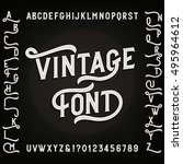 vintage alphabet font with... | Shutterstock .eps vector #495964612