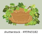 wooden oval frame with green... | Shutterstock .eps vector #495965182