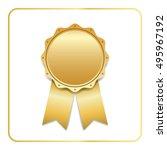award ribbon gold icon. blank...   Shutterstock .eps vector #495967192
