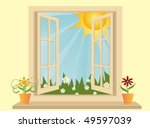 opened plastic window in room... | Shutterstock .eps vector #49597039