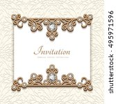 vintage card with diamond... | Shutterstock .eps vector #495971596