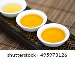 three cups of chinese oolong...   Shutterstock . vector #495973126