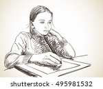 sketch of girl studying to draw ... | Shutterstock .eps vector #495981532