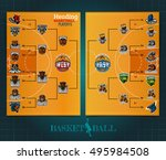 two sided basketball playoff... | Shutterstock .eps vector #495984508