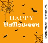 halloween orange background... | Shutterstock .eps vector #495986296