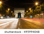 the famous arc de triomphe in... | Shutterstock . vector #495994048