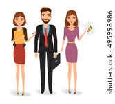 business man and woman on team... | Shutterstock .eps vector #495998986