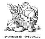basket with vegetables.... | Shutterstock .eps vector #495999112