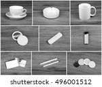 set of white elements for... | Shutterstock . vector #496001512