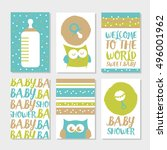set of 6 cute creative cards... | Shutterstock .eps vector #496001962