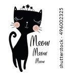 black cat vector design.book...   Shutterstock .eps vector #496002325
