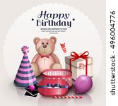 happy birthday greeting card.... | Shutterstock .eps vector #496004776