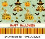 happy halloween pattern with... | Shutterstock . vector #496005226