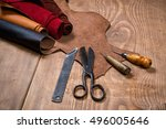 set of leather craft tools on... | Shutterstock . vector #496005646