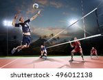 professional volleyball players ... | Shutterstock . vector #496012138
