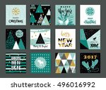 set of artistic creative merry... | Shutterstock .eps vector #496016992