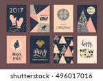 set of artistic creative merry... | Shutterstock .eps vector #496017016