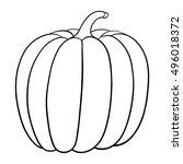 pumpkin. outline vector... | Shutterstock .eps vector #496018372