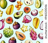 tropical pattern. exotic... | Shutterstock . vector #496020046