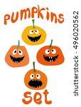 halloween funny pumpkin vector... | Shutterstock .eps vector #496020562