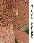 Small photo of NIZHNIY NOVGOROD, RUSSIA - OCTOBER 8, 2016: Old red brick city wall, part of rampart or vallum on 8 October, 2016 in Nizhniy Novgorod, Russia