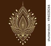 henna tattoo flower template in ... | Shutterstock .eps vector #496028266