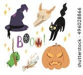 happy halloween vector set with ... | Shutterstock .eps vector #496028866