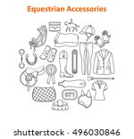 equestrian sport equipment... | Shutterstock .eps vector #496030846