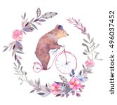 watercolor circus bear on... | Shutterstock . vector #496037452