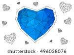 blue heart isolated on white... | Shutterstock .eps vector #496038076