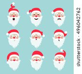 santa claus character. emotions ... | Shutterstock .eps vector #496042762