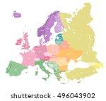 european colorful political map.... | Shutterstock .eps vector #496043902