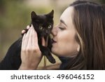 Girl And A Black Cat Kiss And...