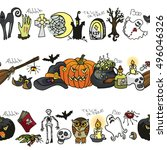 halloween party seamless... | Shutterstock .eps vector #496046326