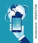 global network. concept... | Shutterstock .eps vector #496051768