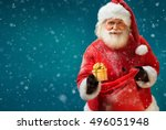 Happy Santa Claus With Gift On...