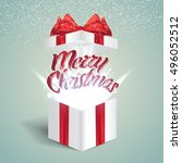 open gift box with abstract... | Shutterstock .eps vector #496052512