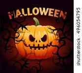 halloween pumpkin. 31 october   ... | Shutterstock .eps vector #496054795