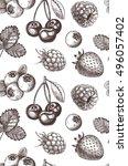 hand drawn vector seamless... | Shutterstock .eps vector #496057402