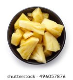 Bowl Of Canned Pineapple Chunk...