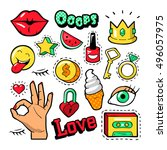 fashion badges set with patches ... | Shutterstock .eps vector #496057975