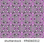 purple gradient style floral... | Shutterstock .eps vector #496060312