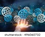 businessman holding digital web ... | Shutterstock . vector #496060732