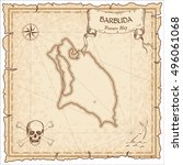 barbuda old pirate map. sepia... | Shutterstock .eps vector #496061068