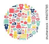 round design element with kids...   Shutterstock .eps vector #496070785