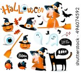 big vector set to halloween.... | Shutterstock .eps vector #496074592