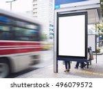 mock up billboard light box at... | Shutterstock . vector #496079572
