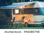 Travel Trailer Caravaning. RV Park Camping at Night.  - stock photo